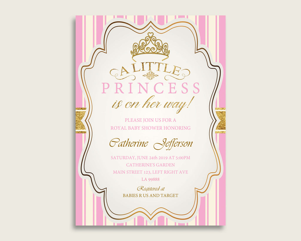 Royal Princess Baby Shower Invitations Printable, Digital Or Printed Invitation Baby Shower Girl, Editable Invitation Pink Gold Light rp002