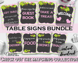 Baby shower TABLE SIGNS decoration printable with green alligator and pink color theme, instant download - ap001
