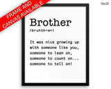 Brother Definition Print, Beautiful Wall Art with Frame and Canvas options available Dictionary