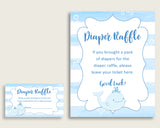 "Whale Baby Shower Diaper Raffle Tickets Game, Boy Blue White Diaper Raffle Card Insert and Sign Printable, Instant Download, 3.5x2"", wbl01"