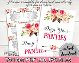 Bohemian Flowers Bridal Shower Drop Your Panties in Pink And Red, underwear game, feathers theme, party organizing, party plan - 06D7T - Digital Product