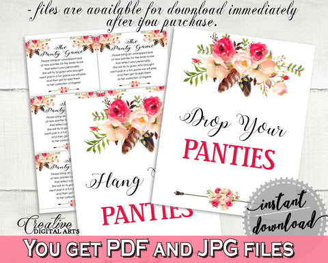 bohemian flowers bridal shower drop your panties in pink and red underwear game feathers