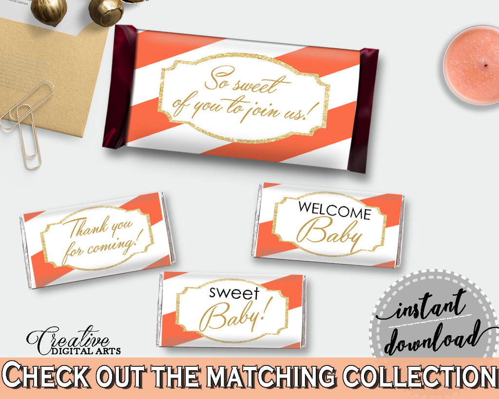 Baby shower HERSHEY decoration wrappers and labels printable with orange striped theme glitter text, instant download - bs003