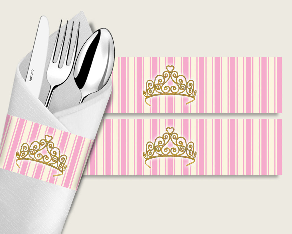 Royal Princess Baby Shower Napkin Rings Printable, Pink Gold Napkin Wrappers, Girl Shower Utensils Wrap, Instant Download, Glamorous rp002
