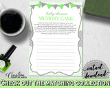 Baby Shower MEMORY game with chevron green neutral shower theme printable, digital file Jpg Pdf, instant download - cgr01