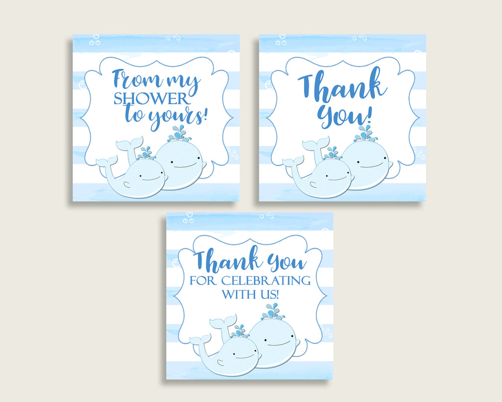 Whale Baby Shower Square Thank You Tags 2 inch Printable, Blue White Boy Shower Gift Tags, Hang Tags Labels, Instant Download wbl01