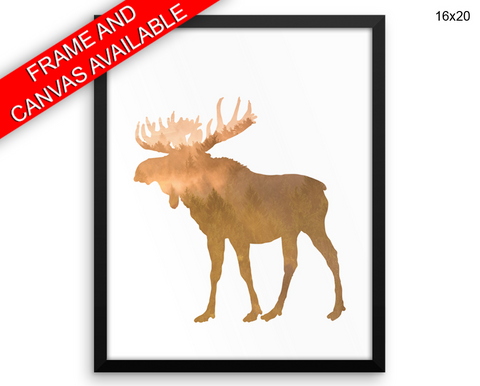 Forrest Moose Print, Beautiful Wall Art with Frame and Canvas options available Rustic Decor