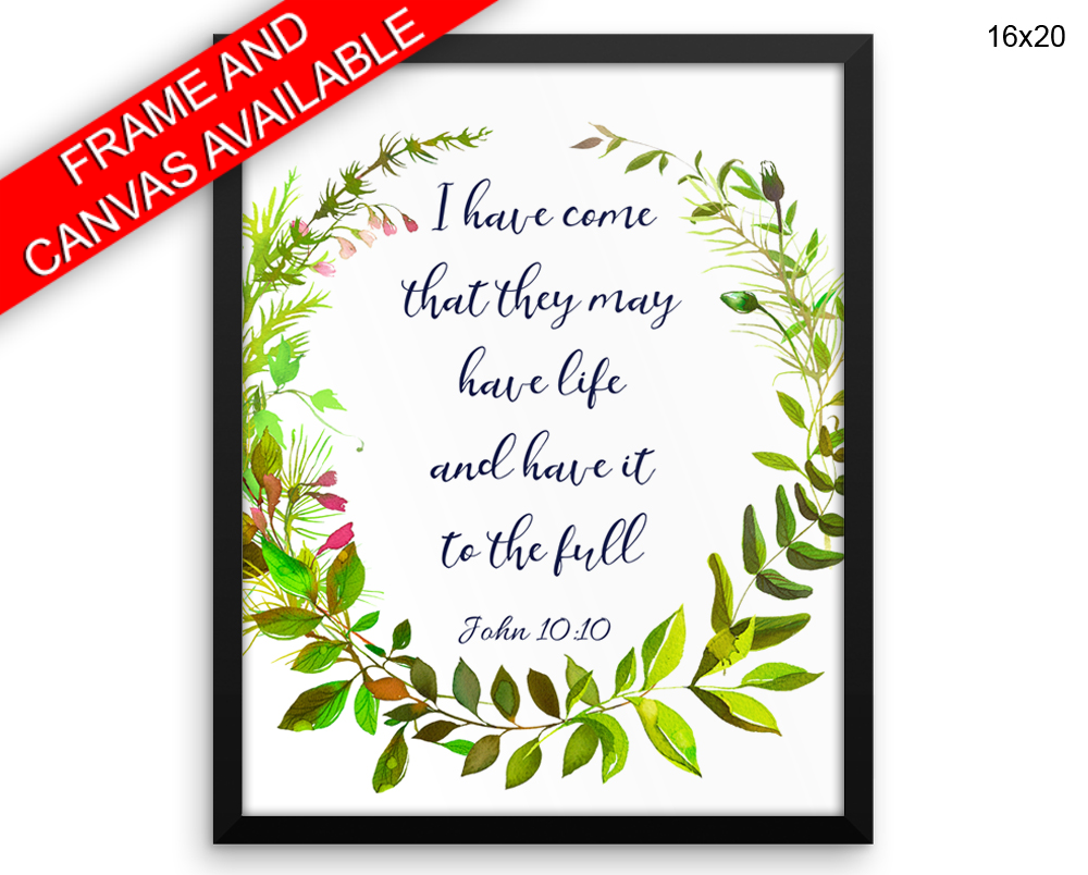 John Quote Print, Beautiful Wall Art with Frame and Canvas options available  Decor