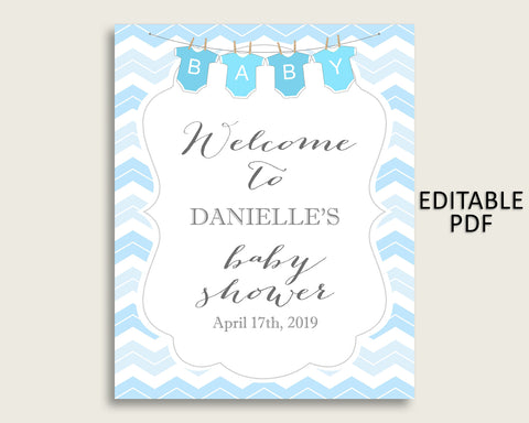 Blue White Chevron Baby Shower Welcome Sign Printable, Party Large Sign, Editable Welcome Sign Boy, Yard Sign, Instant Download, cbl01