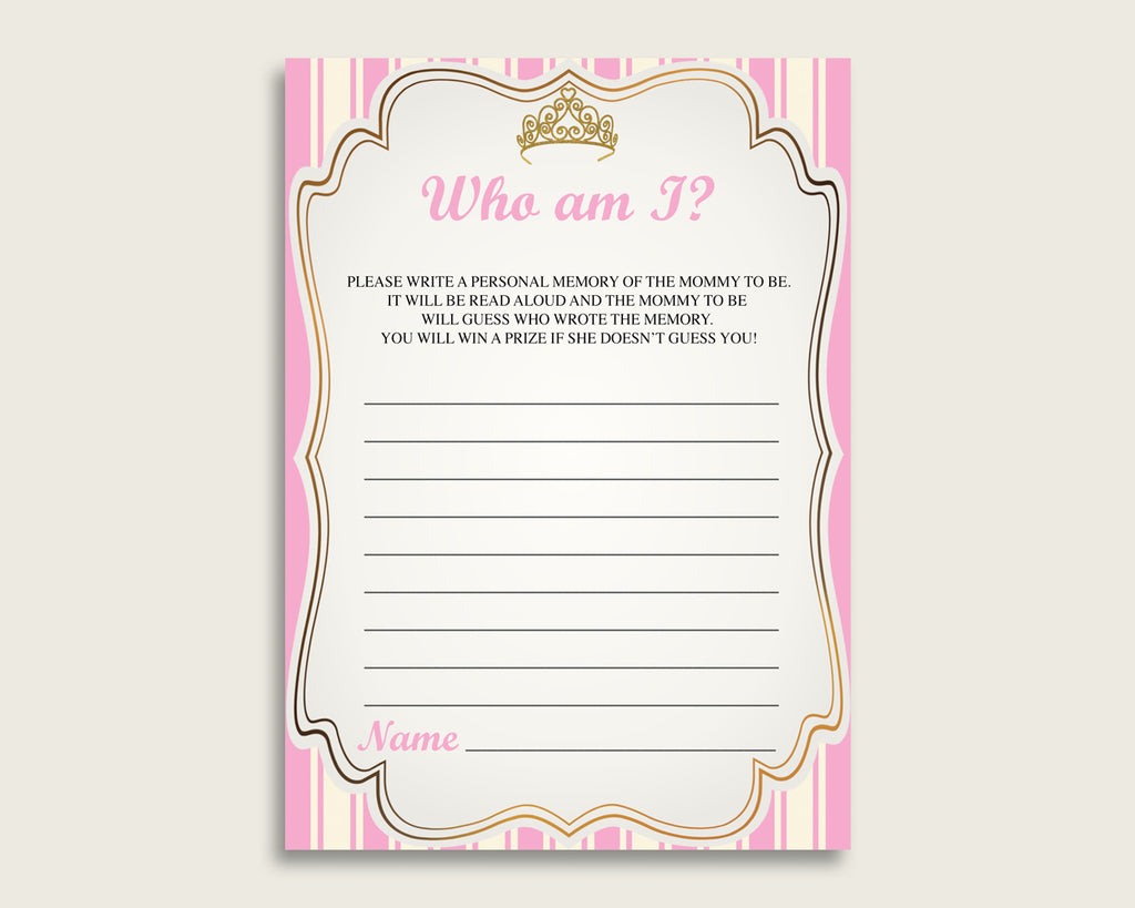 Royal Princess Who Am I Game Printable, Girl Baby Shower Memory With Mommy, Pink Gold Baby Shower Activity, Instant Download, rp002