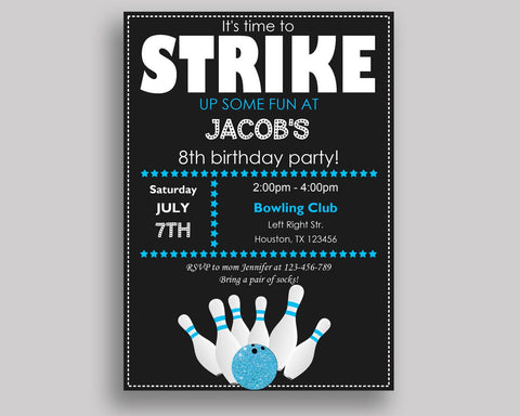 Bowling Birthday Invitation Bowling Birthday Party Invitation Bowling Birthday Party Bowling Invitation Boy backside, strike invite 5DVSP - Digital Product