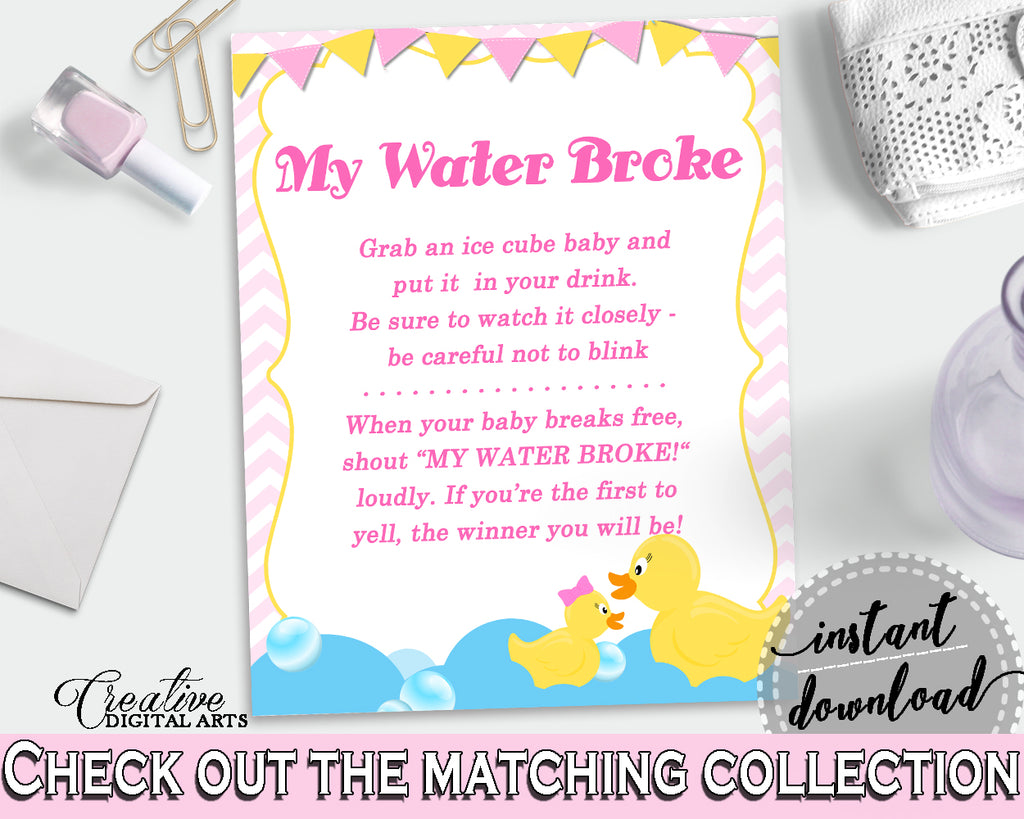 My Water Broke Baby Shower My Water Broke Rubber Duck Baby Shower My Water Broke Baby Shower Rubber Duck My Water Broke Purple Pink rd001