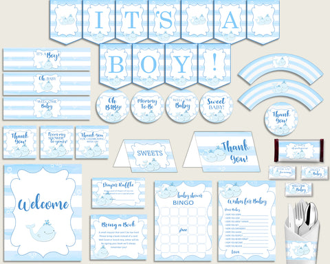 Blue White Baby Shower Decorations Boy Kit, Whale Baby Shower Party Package Printable, Instant Download, Summer Popular Theme wbl01