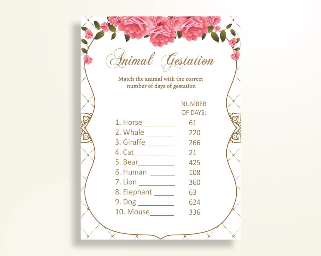 Animal Gestation Baby Shower Animal Gestation Roses Baby Shower Animal Gestation Baby Shower Roses Animal Gestation Pink White party U3FPX - Digital Product