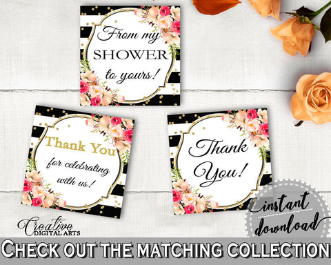 Black And Gold Flower Bouquet Black Stripes Bridal Shower Theme: Thank You Tags Square - thank-you tags, classy bride, party décor - QMK20 - Digital Product