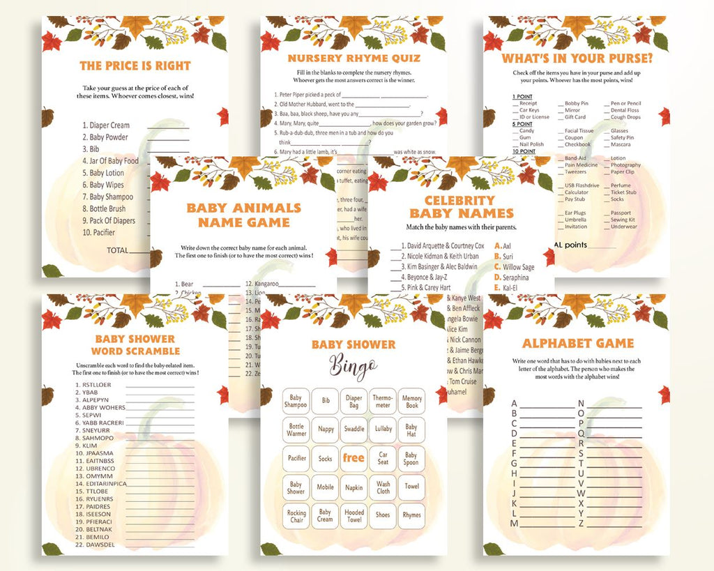 Games Baby Shower Games Autumn Baby Shower Games Baby Shower Pumpkin Games Orange Brown baby shower idea party theme party décor OALDE - Digital Product