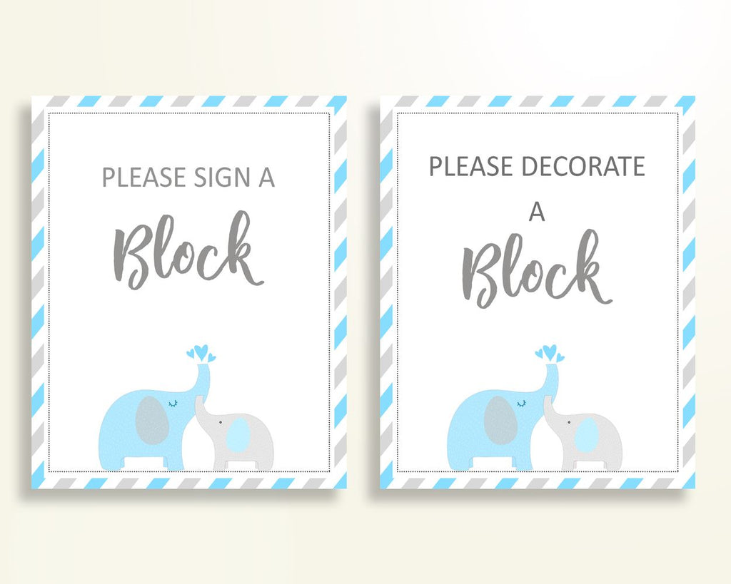 Sign A Block Baby Shower Decorate A Block Elephant Baby Shower Sign A Block Blue Gray Baby Shower Elephant Decorate A Block prints C0U64 - Digital Product