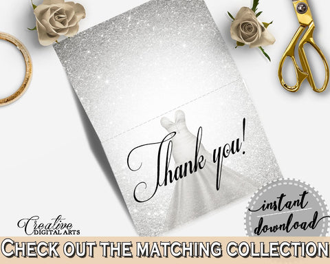 Thank You Card in Silver Wedding Dress Bridal Shower Silver And White Theme, tented card, bridal traditional, party plan, prints - C0CS5 - Digital Product