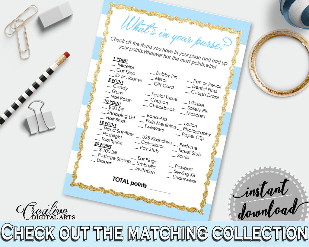 WHAT'S In YOUR PURSE printable baby shower game with blue and white stripes, digital Jpg Pdf, instant download - bs002