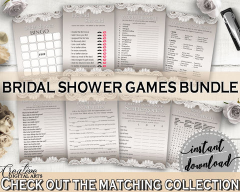 Brown And Silver Traditional Lace Bridal Shower Theme: Games Bundle - favorite games, lace design, digital print, party supplies - Z2DRE - Digital Product