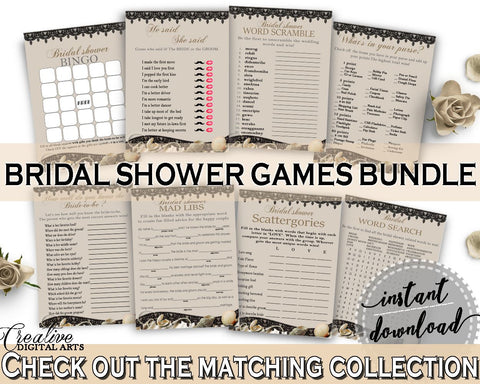 Brown And Beige Seashells And Pearls Bridal Shower Theme: Games Bundle - scattergories, satin sheets bridal, party planning, prints - 65924 - Digital Product