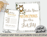 Baby Predictions Baby Shower Baby Predictions Owl Baby Shower Baby Predictions Baby Shower Owl Baby Predictions Gray Brown prints 9PUAC - Digital Product