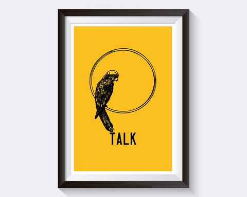 Wall Art Parrot Digital Print Talk Poster Art Parrot Wall Art Print Talk Bedroom Art Talk Bedroom Print Parrot Wall Decor Parrot animal - Digital Download
