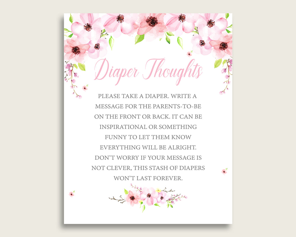 Flower Blush Baby Shower Diaper Thoughts Printable, Girl Pink Green Late Night Diaper Sign, Words For Wee Hours, Write On Diaper VH1KL