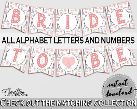 Pink And Gray Paris Bridal Shower Theme: Banner - decoration numbers, bridal shower paris, pdf jpg, printables, instant download - NJAL9 - Digital Product