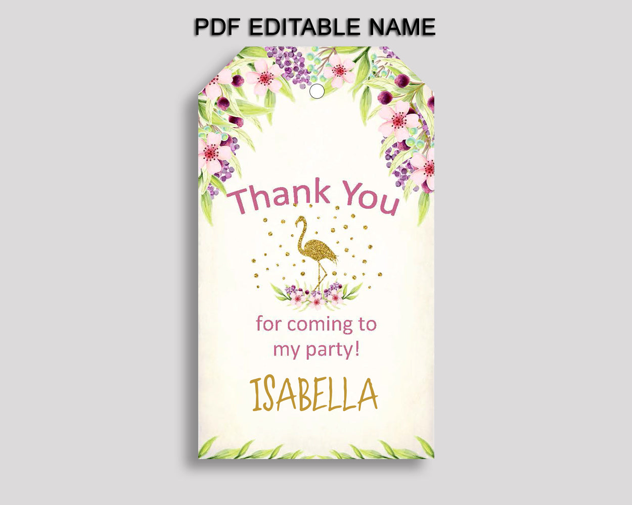 Flamingo Gift Tags, Gold Green Birthday Party Thank You Tags, Glitter Printable Tags, Flamingo Favor Tags Girl, P3SIV