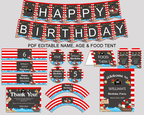 Birthday Pirate Party Decor Pirate Editable Package Red Black Birthday Decoration Pirate Birthday Kit Boy INGIO