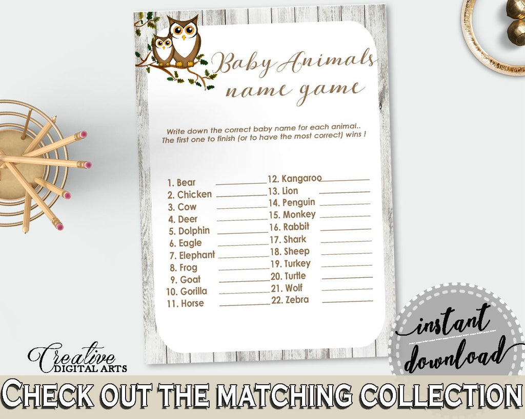 Baby Animal Names Baby Shower Baby Animal Names Owl Baby Shower Baby Animal Names Baby Shower Owl Baby Animal Names Gray Brown party 9PUAC - Digital Product
