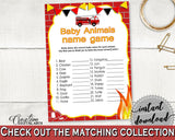 Baby Animal Names Baby Shower Baby Animal Names Fireman Baby Shower Baby Animal Names Red Yellow Baby Shower Fireman Baby Animal LUWX6 - Digital Product