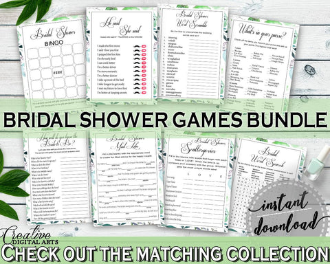 Games Bridal Shower Games Botanic Watercolor Bridal Shower Games Bridal Shower Botanic Watercolor Games Green White printable files 1LIZN - Digital Product