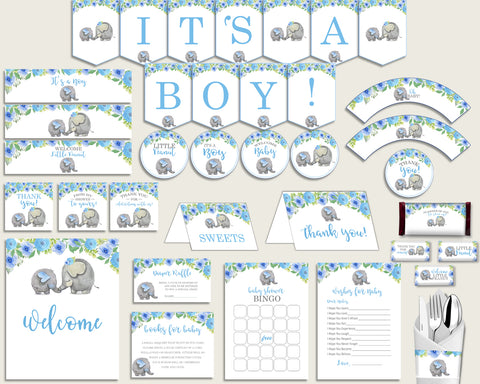 Blue Gray Baby Shower Decorations Boy Kit, Elephant Blue Baby Shower Party Package Printable, Instant Download, Africa or Jungle ebl01