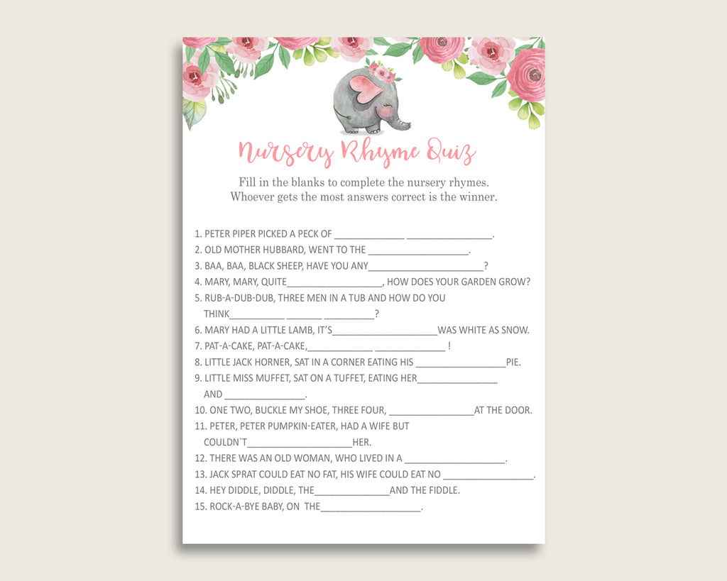 Pink Elephant Nursery Rhyme Quiz Printable, Pink Grey Nursery Rhyme Game, Pink Grey Baby Shower Girl Activities, Instant Download, ep001