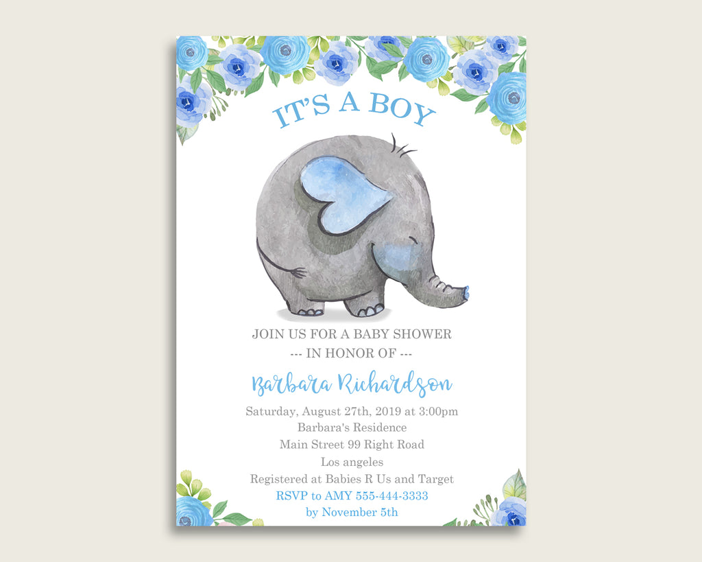 Elephant Blue Baby Shower Invitations Printable, Digital Or Printed Invitation Baby Shower Boy, Editable Invitation Blue Gray Mammoth ebl01