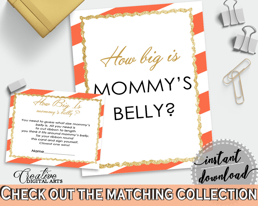 How Big Is MOMMY'S BELLY baby shower game with orange stripes theme printable, glitter gold, Jpg Pdf, instant download - bs003