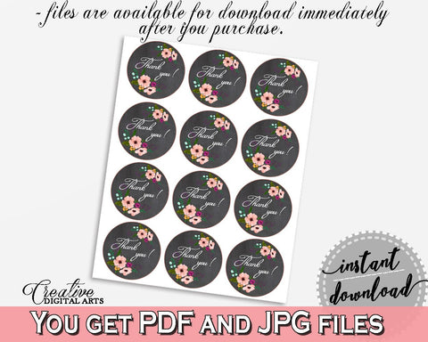 chalkboard flowers bridal shower thank you tag in black and pink round favour labels