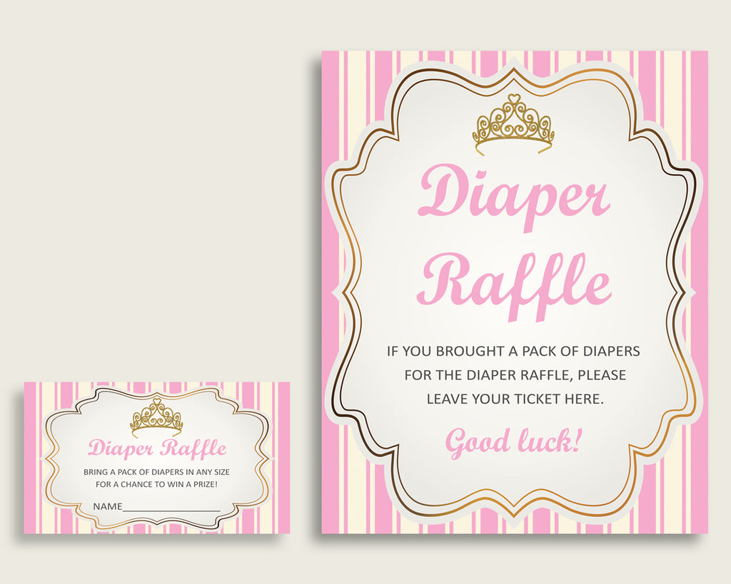 Royal Princess Baby Shower Diaper Raffle Tickets Game, Girl Pink Gold Diaper Raffle Card Insert and Sign Printable, Instant Download rp002