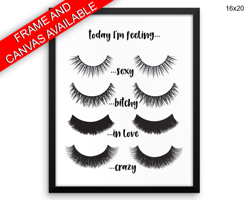 Eye Lashes Print, Beautiful Wall Art with Frame and Canvas options available Beauty Decor