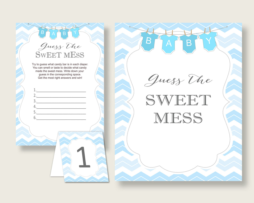 Chevron Guessing Game Baby Shower Boy, Blue White Guess The Sweet Mess Game Printable, Dirty Diaper Game, Instant Download, Popular cbl01