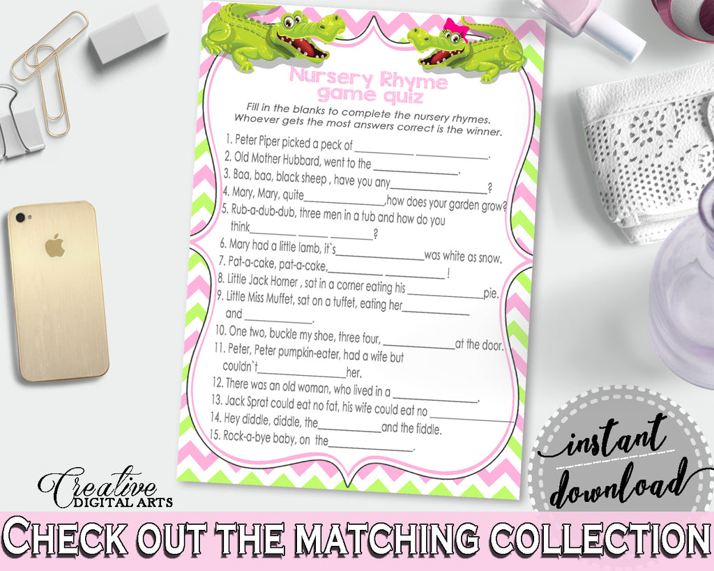 Baby Shower NURSERY RHYME QUIZ game with green alligator and pink color theme, instant download - ap001