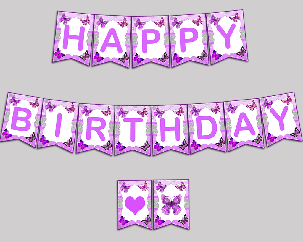 happy birthday girl banner butterfly happy birthday butterfly banner wall decor purple white ohi62