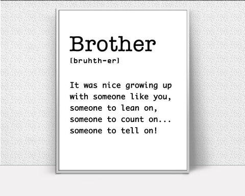 Definition Prints Wall Art Brother Digital Download Definition Dictionary Art Brother Dictionary Print Definition Instant Download Brother - Digital Download