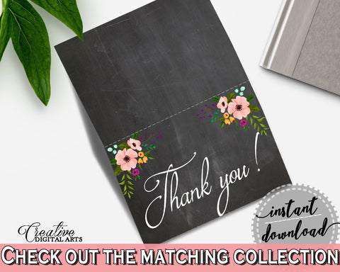 Black And Pink Chalkboard Flowers Bridal Shower Theme: Thank You Card - acknowledgment, chalkboard shower, prints, digital print - RBZRX - Digital Product