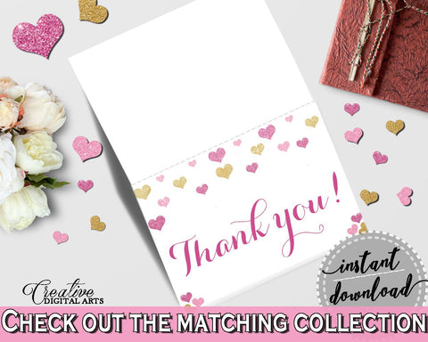 Glitter Hearts Bridal Shower Thank You Card in Gold And Pink, gratefulness,  sweety bridal, party ideas, bridal shower idea, prints - WEE0X - Digital Product