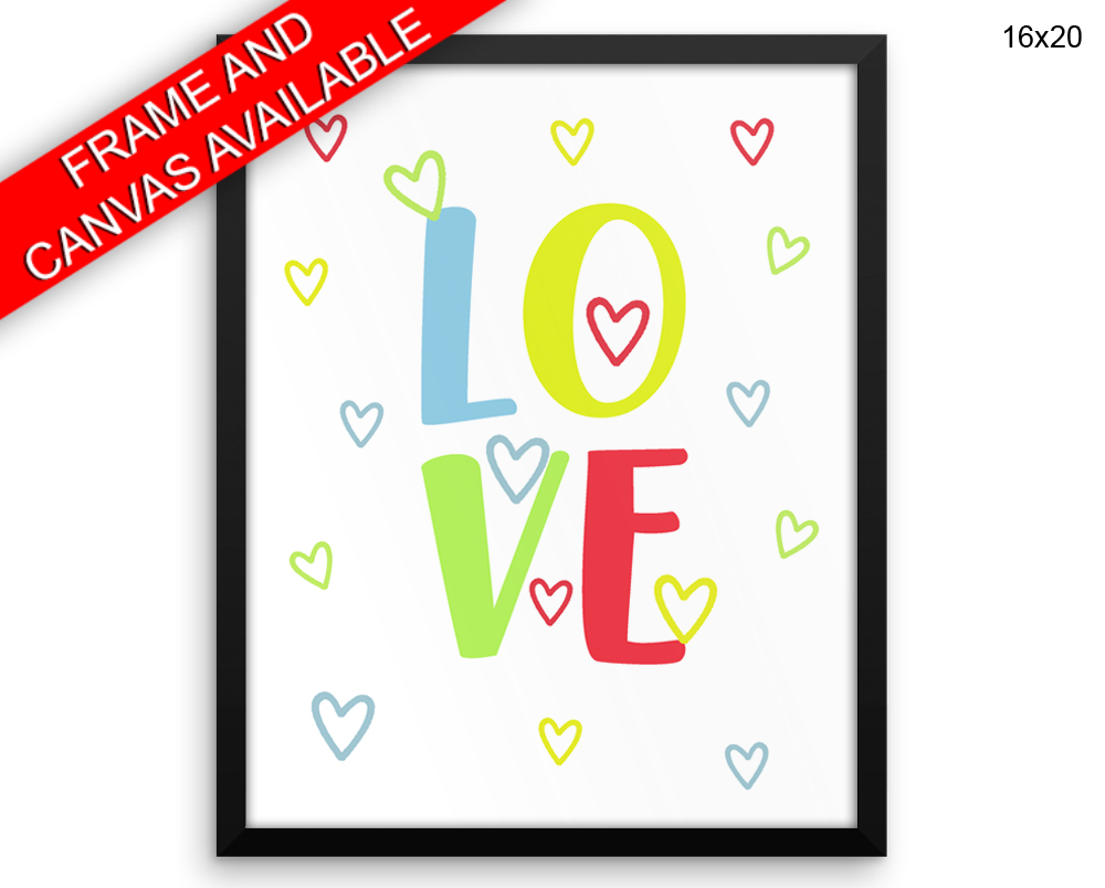 Kids Room Print, Beautiful Wall Art with Frame and Canvas options available Love Decor