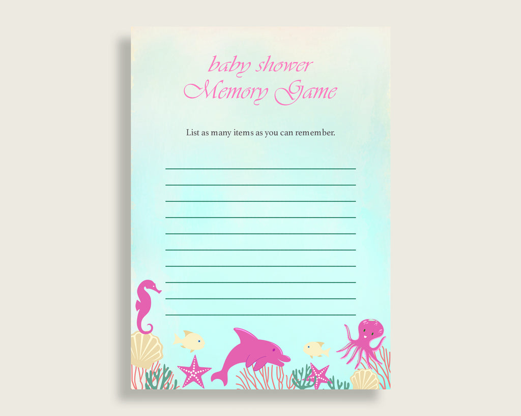 Under The Sea Baby Shower Memory Game, Pink Green Memory Guessing Game Printable, Baby Shower Girl, Instant Download, Sea Creatures uts01