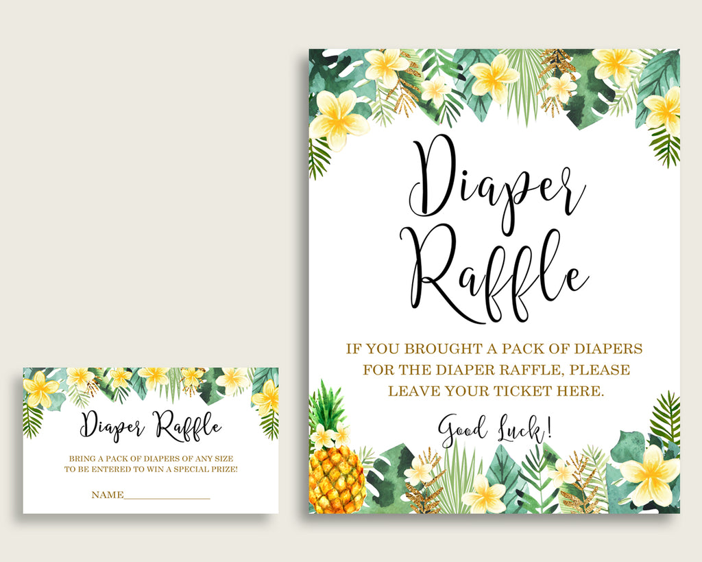 Tropical Baby Shower Diaper Raffle Tickets Game, Gender Neutral Green Yellow Diaper Raffle Card Insert and Sign Printable, Instant 4N0VK